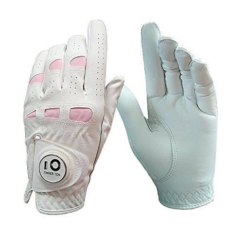Women's Leather Golf Glove with Ball Marker Extra Grip Value Pack 1