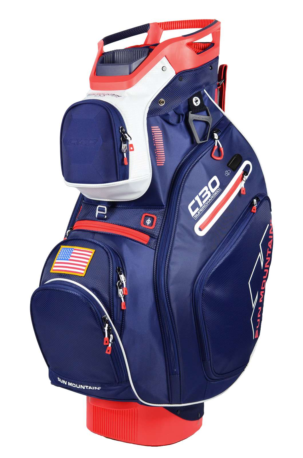 Sun Mountain C130 Supercharged Cart Bag White Red